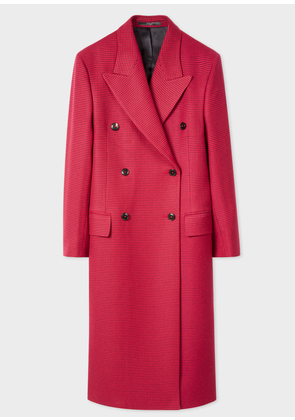 Women's Red Houndstooth Check Double-Breasted Wool Overcoat