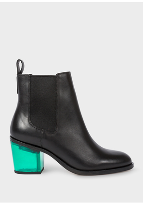 Women's Black Leather 'Shelby' Boots With Green Transparent Heels