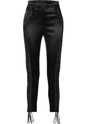 Dolce & Gabbana - Lace-up Satin Straight-leg Pants - Black