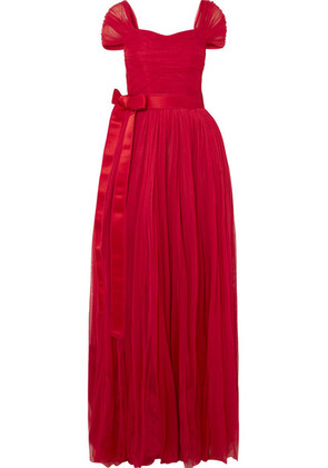 Dolce & Gabbana - Belted Silk-chiffon Gown - Red