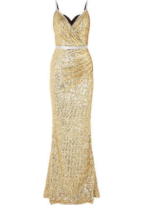 Dolce & Gabbana - Crystal-embellished Sequined Stretch-satin Gown - Gold