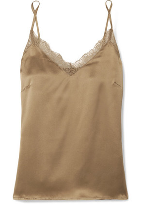 Anine Bing - Lace-trimmed Silk Camisole - Gold