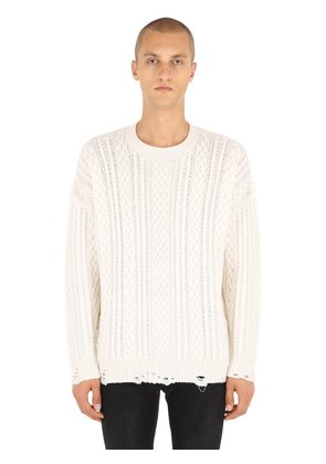 DISTRESSED CASHMERE BLEND CABLE SWEATER