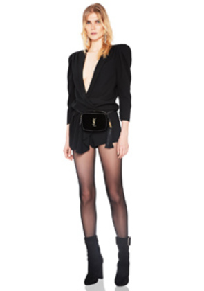 Saint Laurent Draped Front Romper in Black