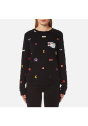 KENZO Women's All Over Multi Icons Molleton Sweatshirt - Black - M - Black