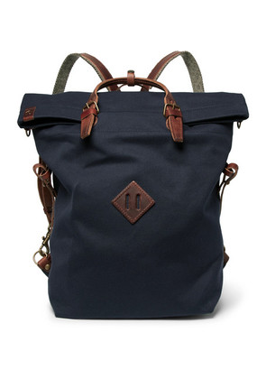 Convertible Leather-trimmed Canvas Backpack
