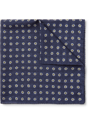Anderson & Sheppard - Printed Wool-twill Pocket Square - Navy