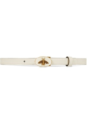 Gucci Leather belt with bee buckle - White