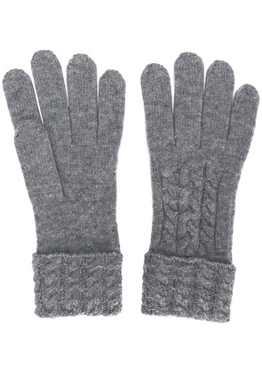 N.Peal cable knit gloves - Grey