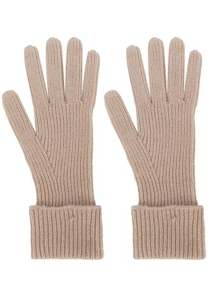 N.Peal ribbed knit gloves - Nude & Neutrals