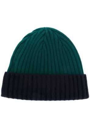 N.Peal contrast ribbed beanie hat - Green