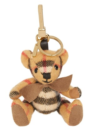 Burberry Thomas Bear Charm in Vintage Check Cashmere - Yellow & Orange