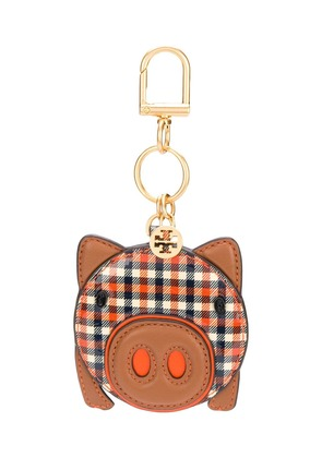 Tory Burch Ember Gleen plaid keychain - Brown