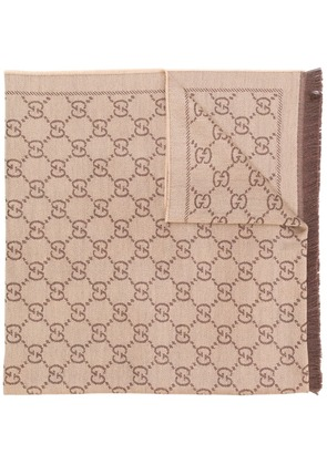 Gucci GG jacquard pattern knitted scarf - Nude & Neutrals