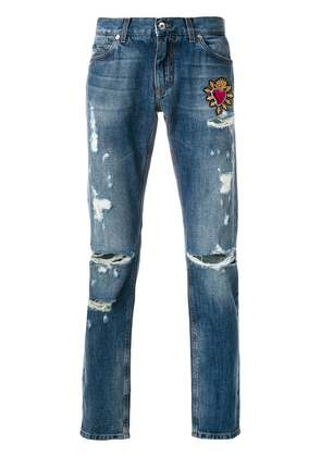 Dolce & Gabbana Sacred Heart patch jeans - Blue