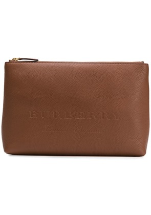 Burberry large embossed zip pouch - Brown
