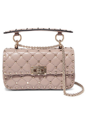 Valentino - Valentino Garavani The Rockstud Spike Quilted Leather Shoulder Bag - Antique rose