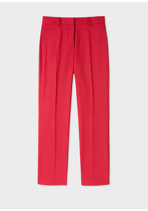 Women's Slim-Fit Red Houndstooth Wool Trousers