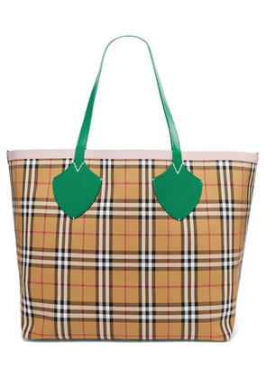 Burberry - Giant Reversible Leather-trimmed Checked Cotton-canvas Tote - Brown