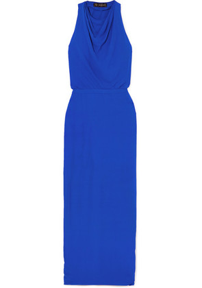 Versace - Hooded Crepe Maxi Dress - Blue