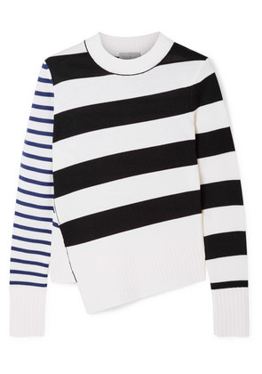 Jason Wu GREY - Asymmetric Striped Merino Wool Sweater - Ivory