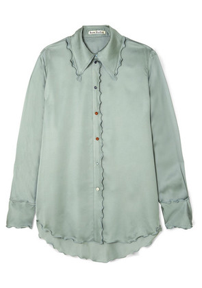 Acne Studios - Ruffled Satin Shirt - Mint
