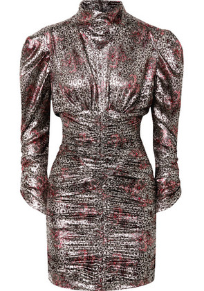 Isabel Marant - Pandor Ruched Printed Silk-blend Lamé Mini Dress - Silver