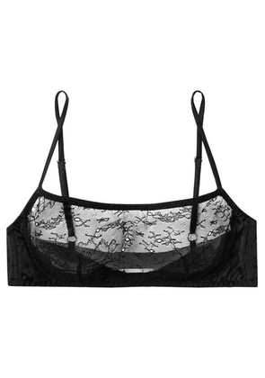 Myla - Darling Row Silk-blend Leavers Lace And Satin Soft-cup Bra - Black