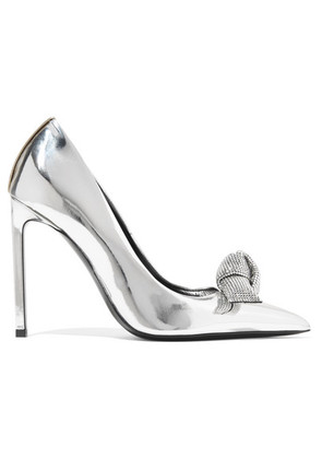 TOM FORD - Swarovski Crystal-embellished Mirrored-leather Pumps - Silver