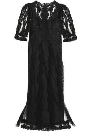 Dolce & Gabbana Woman Ruffle-trimmed Lace And Tulle Maxi Dress Black Size 42