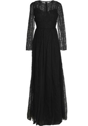 Dolce & Gabbana Woman Pleated Silk-blend Gauze And Chantilly Lace Gown Black Size 38