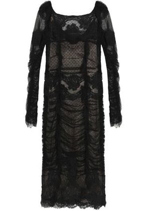 Dolce & Gabbana Woman Scalloped Embroidered Tulle And Lace Dress Black Size 38