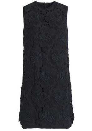 Dolce & Gabbana Woman Embroidered Cashmere And Cotton-blend Twill Mini Dress Black Size 40