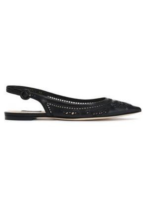 Dolce & Gabbana Woman Broderie Anglaise Leather And Mesh Point-toe Flats Black Size 35