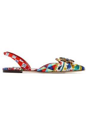 Dolce & Gabbana Woman Embellished Printed Woven Point-toe Flats Multicolor Size 35