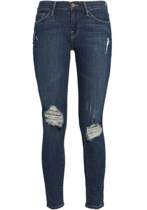 Frame Woman Distressed Low-rise Skinny Jeans Mid Denim Size 24