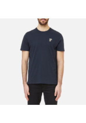 Versace Collection Men's Small Logo T-Shirt Girocollo - Navy-Oro - XXL - Blue
