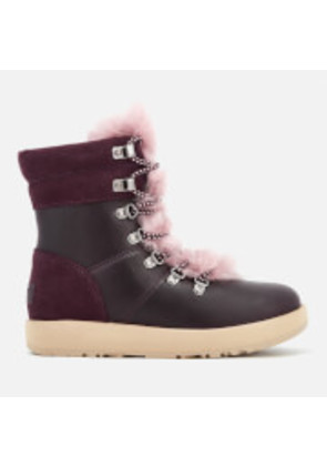 UGG Women's Viki Waterproof Leather Lace Up Boots - Port - UK 5.5 - Burgundy