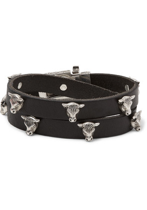 Leather And Silver-tone Wrap Bracelet