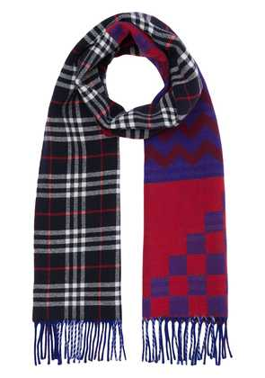 Burberry Reversible Graphic and Check Wool Cashmere Scarf - Blue