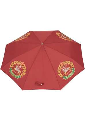 Burberry Crest Print Folding Umbrella - Red