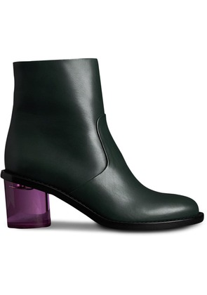 Burberry Two-tone Leather Block-heel Boots - Green