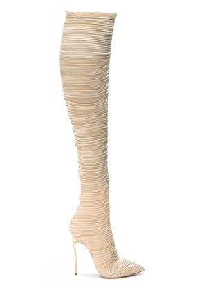 Casadei pleated knee-length boots - Nude & Neutrals
