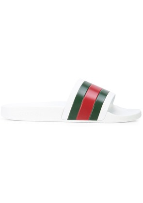 Gucci Web stripe slides - White