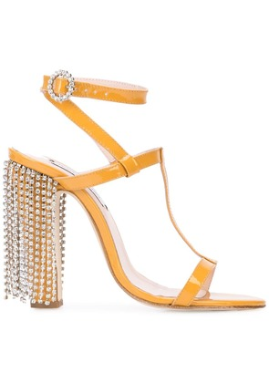 Leandra Medine embellished heel sandals - Yellow & Orange