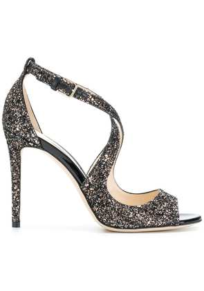 Jimmy Choo Emily 100 glitter sandals - Black