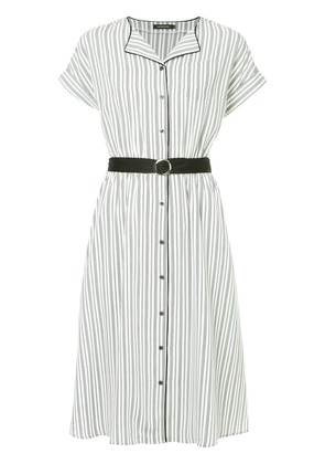 Loveless striped belted shirt dress - White