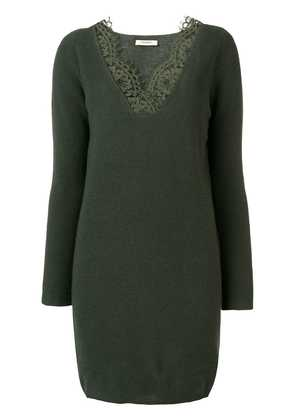 Twin-Set lace trim sweater dress - Green