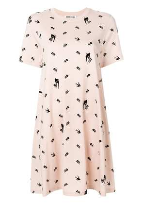 McQ Alexander McQueen floral and swallow print dress - Nude & Neutrals
