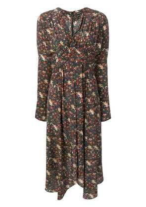 Isabel Marant printed empire line silhouette dress - Black
